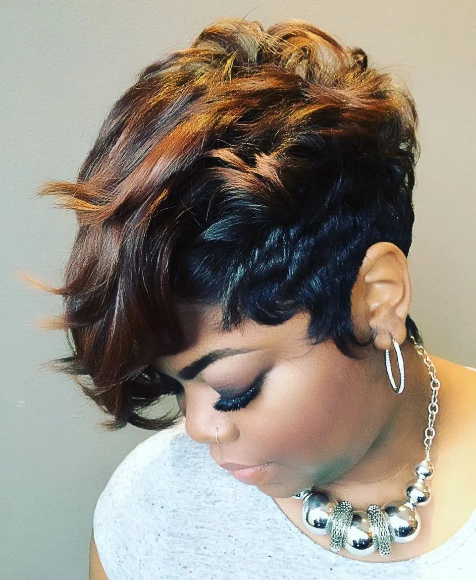 Short Weave Hairstyle with Waves
