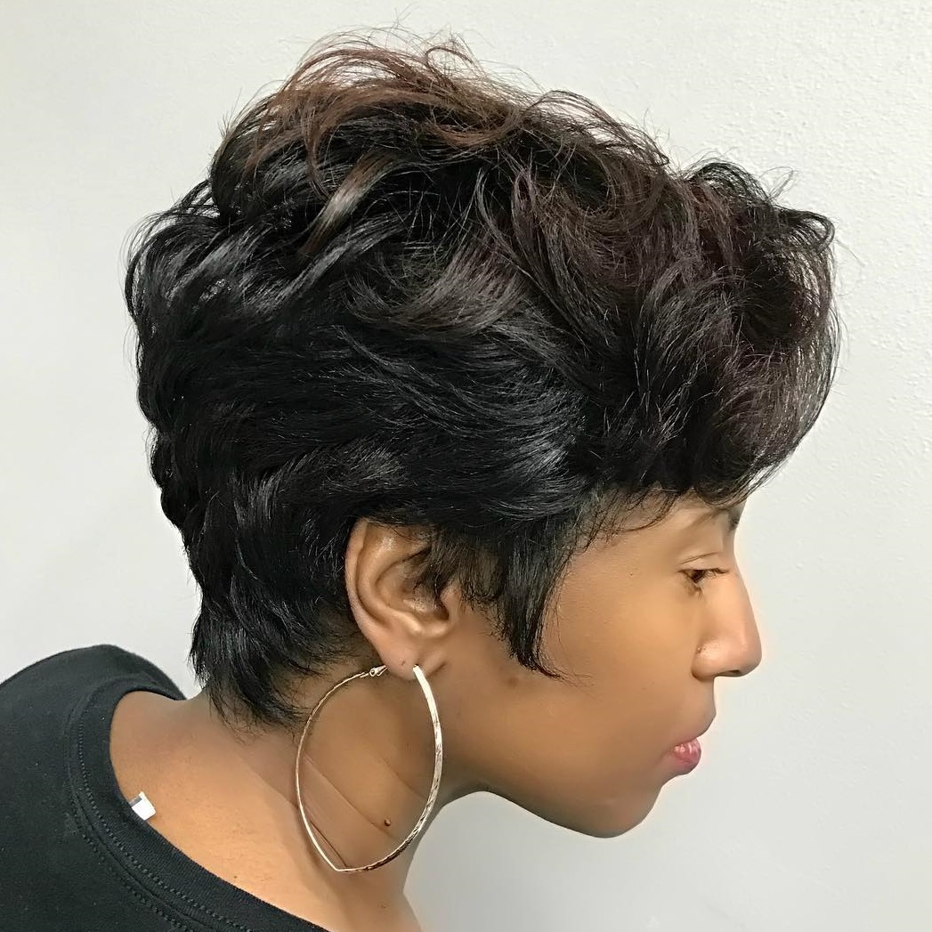 Black Pixie with Easy Curls