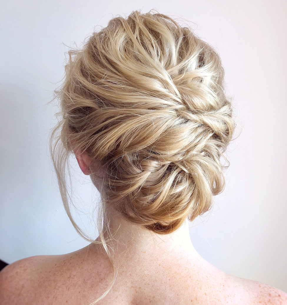 Piece-y Updo with Bangs