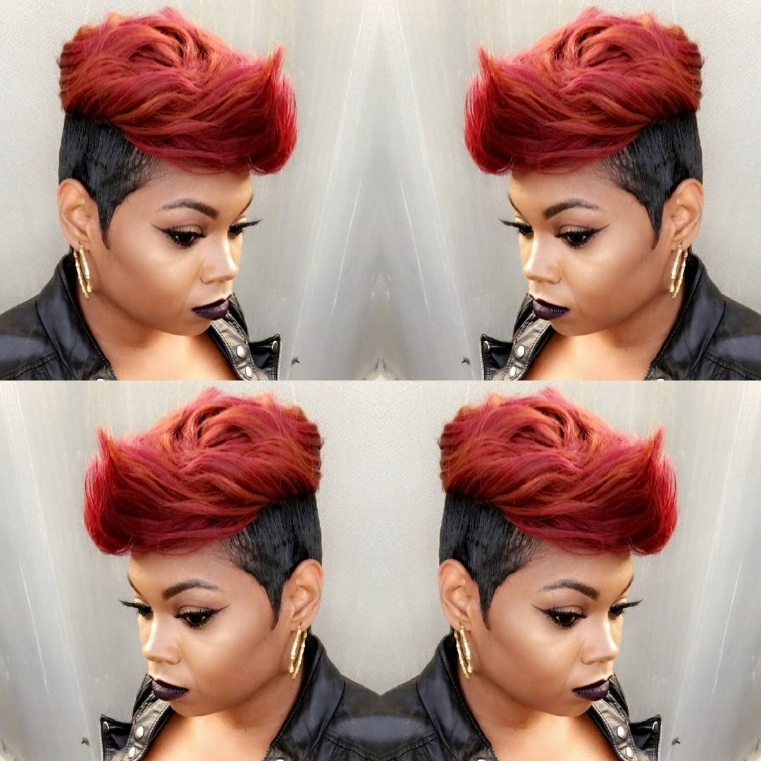 Red and Black Undercut Mohawk