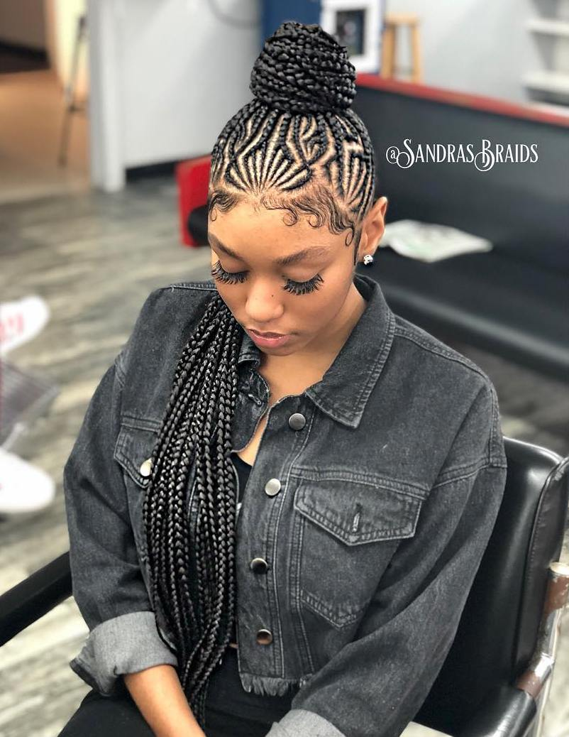 Protective Updo with Geometric Cornrows