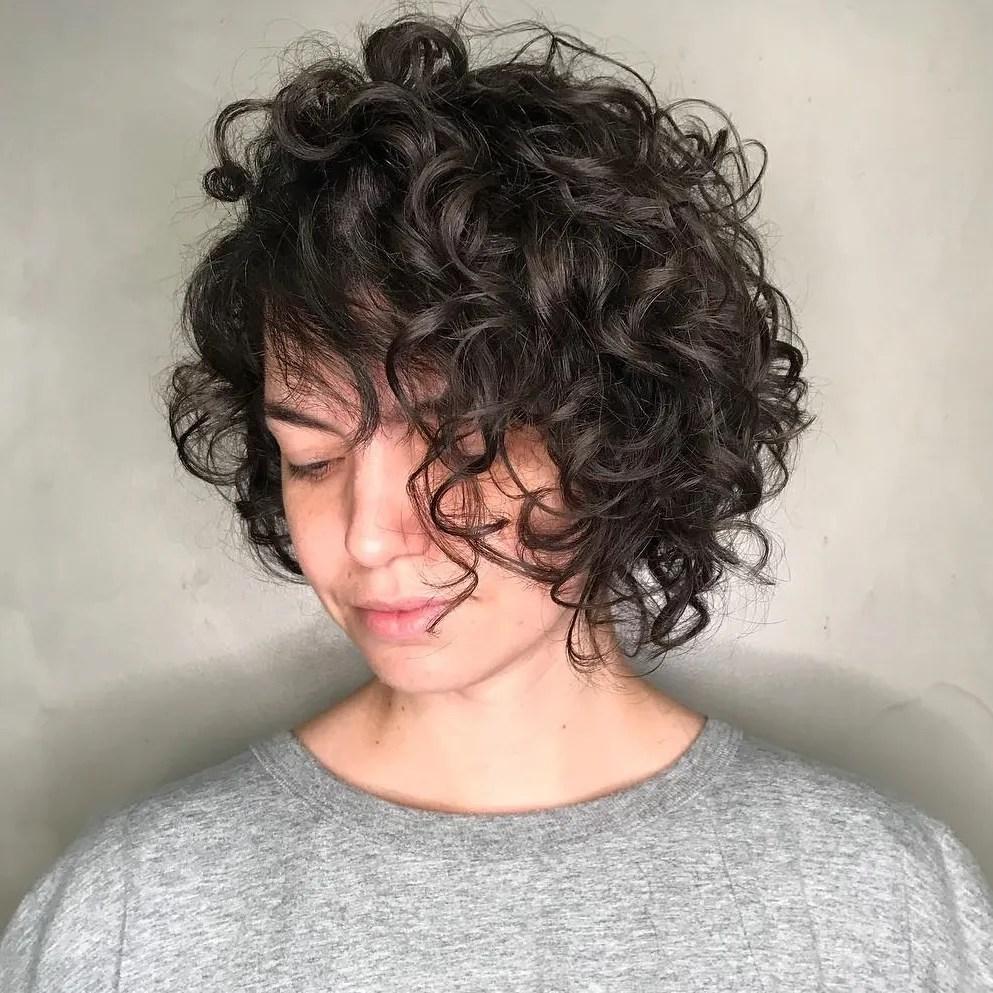 Messy Asymmetrical Bob for Curly Hair