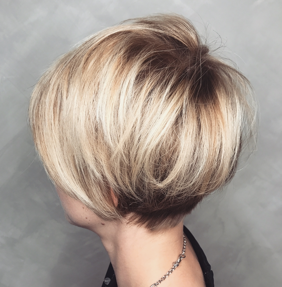 Brown Blonde Undercut Pixie Bob