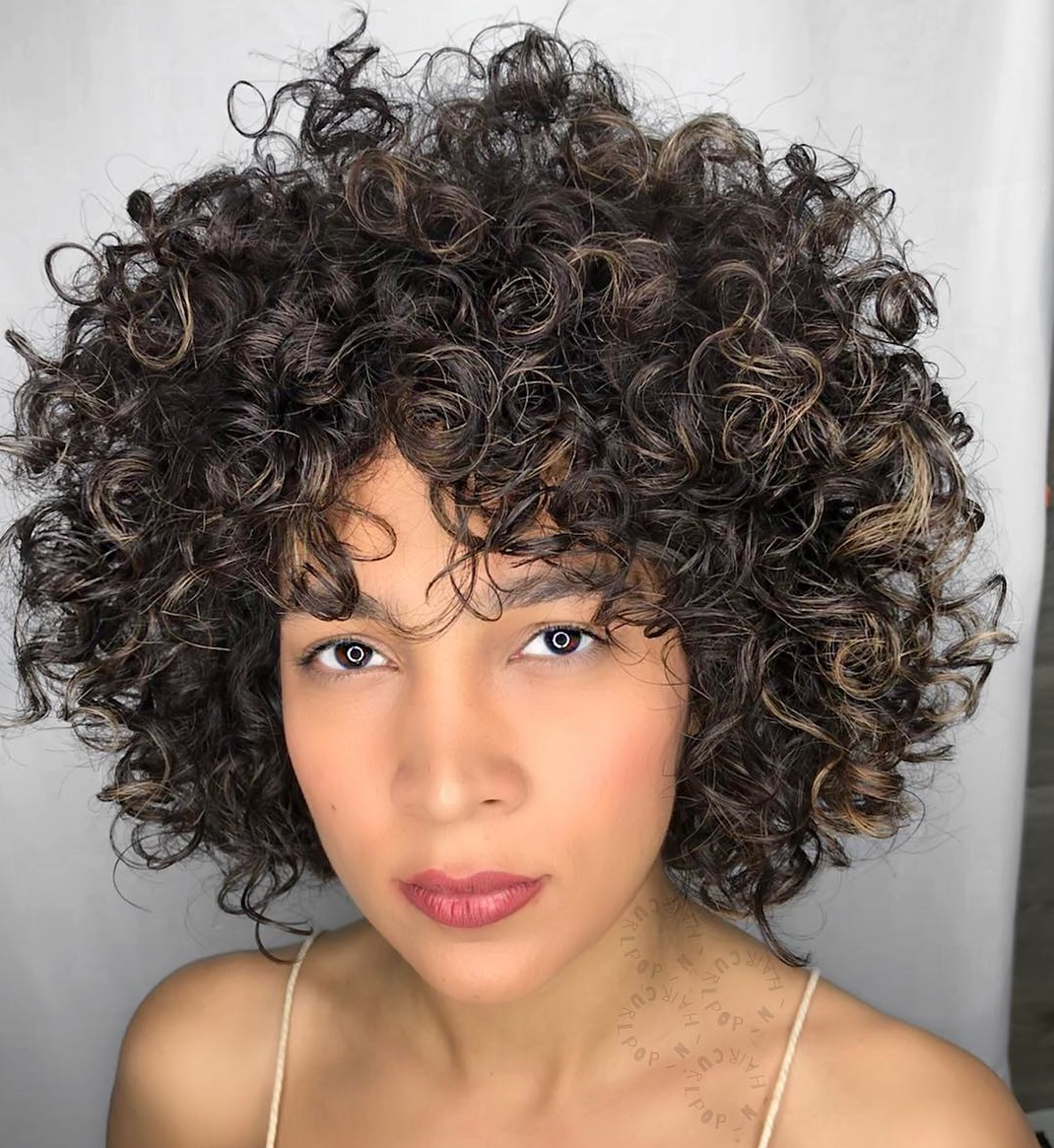 Springy Curly Bob with Highlights