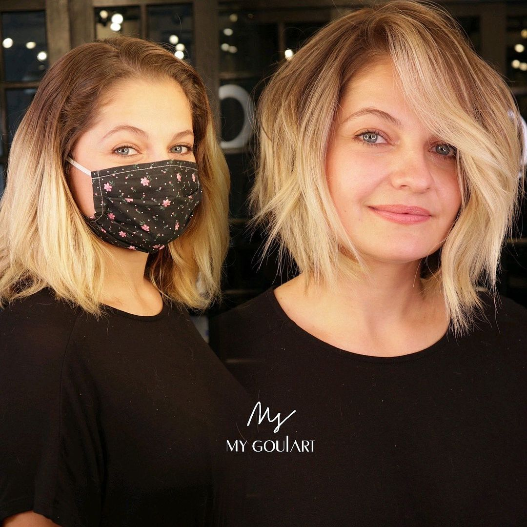 Best Tousled Bob Haircut for a Square Face