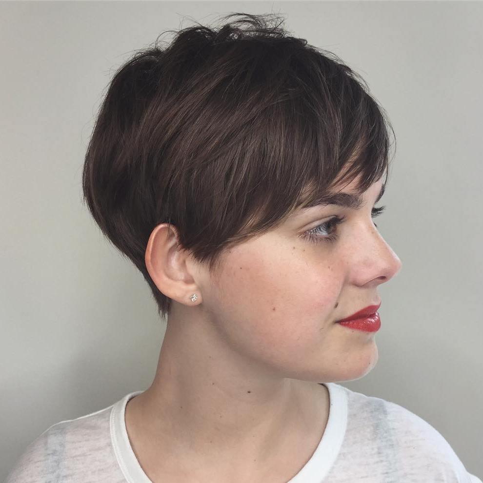 Feminine Brunette Pixie Cut