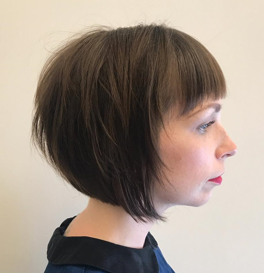 Pretty Inverted Bob with Bangs