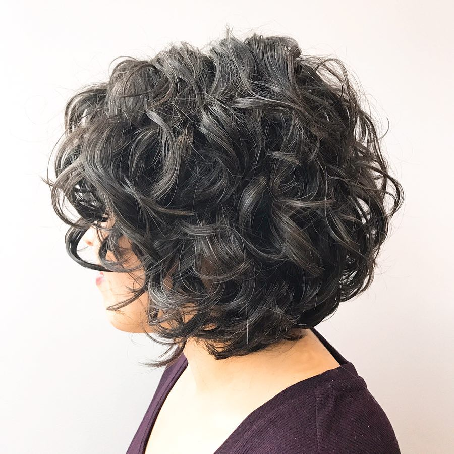 Short Black Bob with Curls