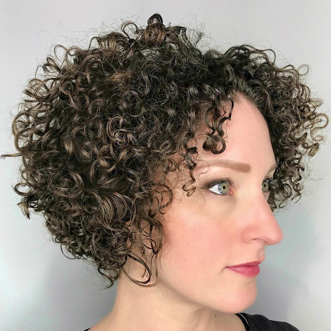 Very Curly Bob with a Middle Part