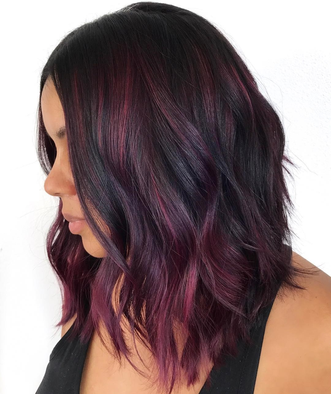 Beachy Black Lob with Burgundy Highlights