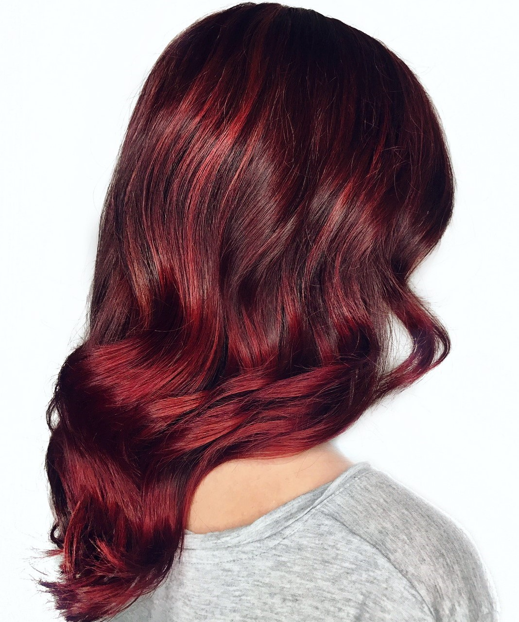 Maroon Burgundy Hair with a Light Wave