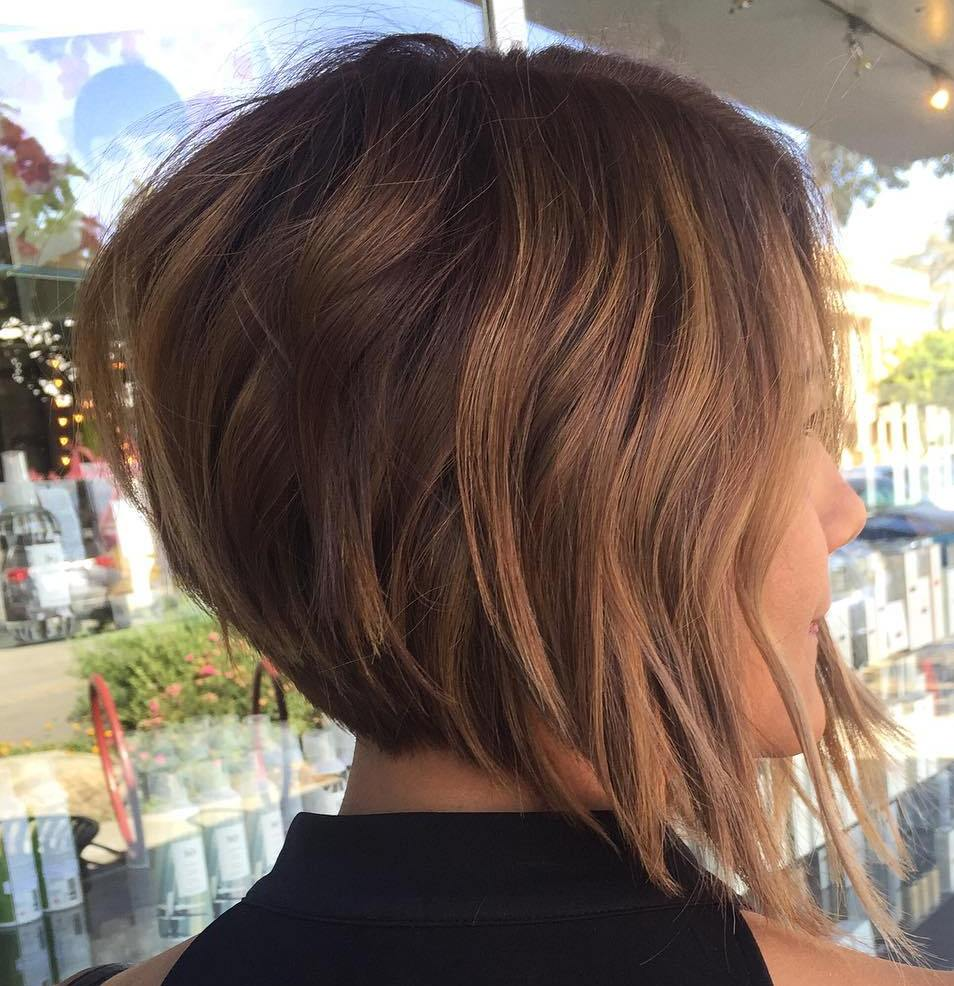 Cinnamon Brown Angled Bob Cut