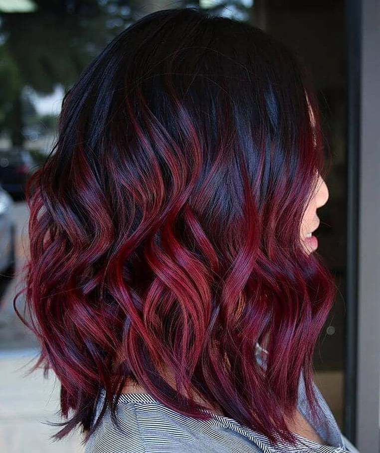 Black and Burgundy Red Balayage