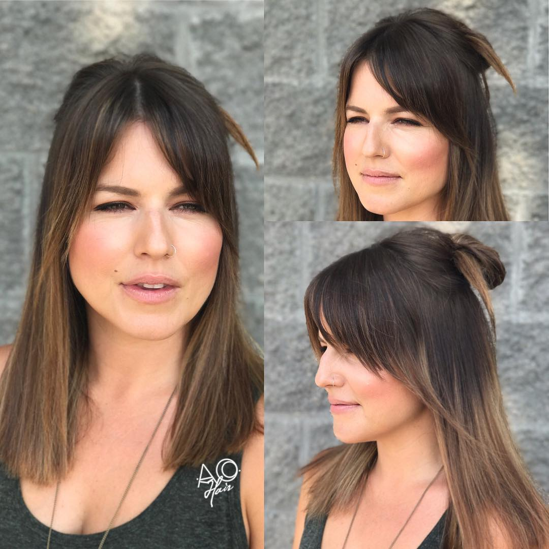 Mid-Length Cut with Angled Bangs