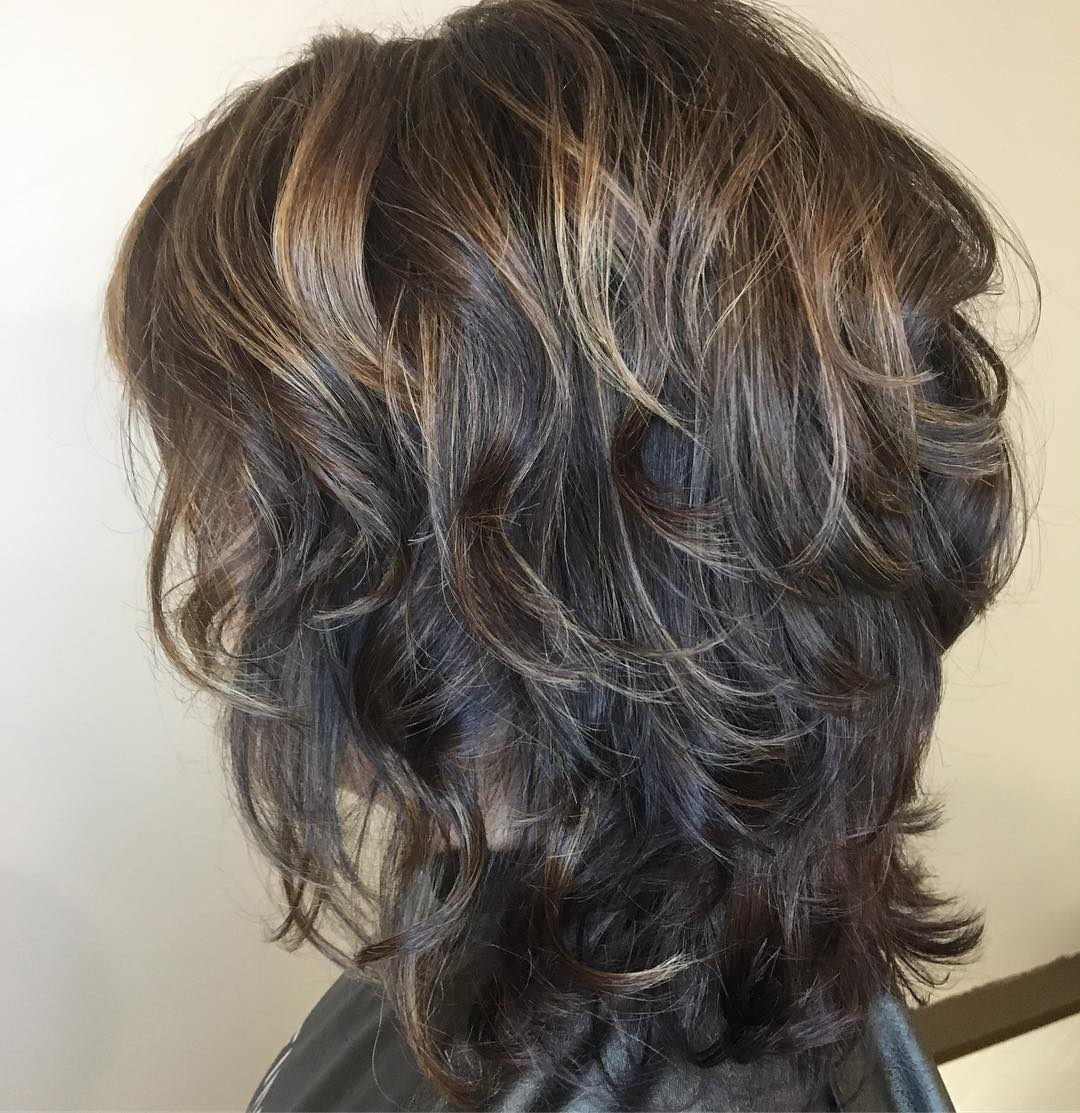 Curly Brunette Shag for Medium Hair