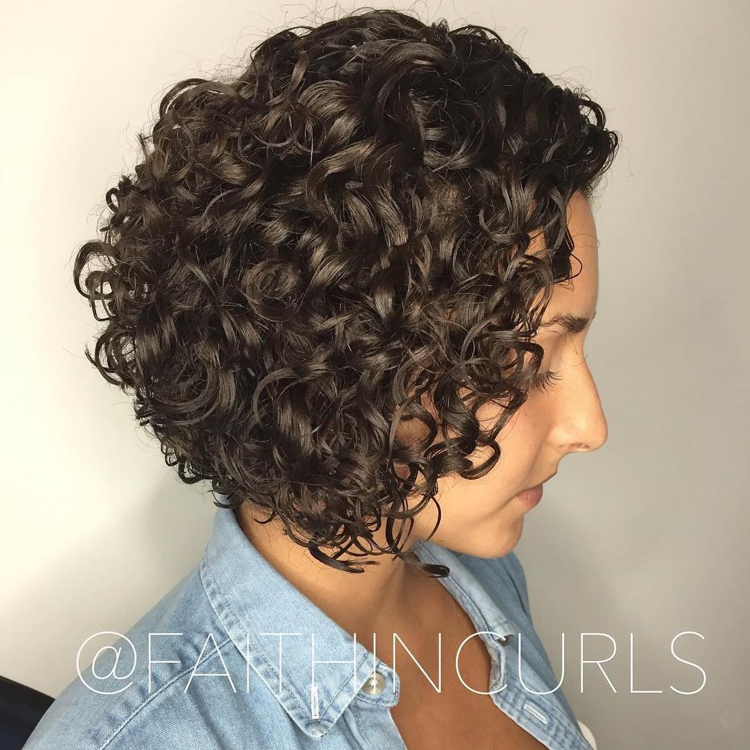 Inverted Curly Brunette Bob