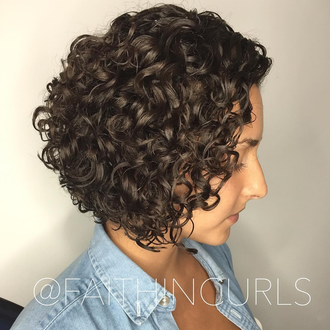Inverted Curly Brunette Bob