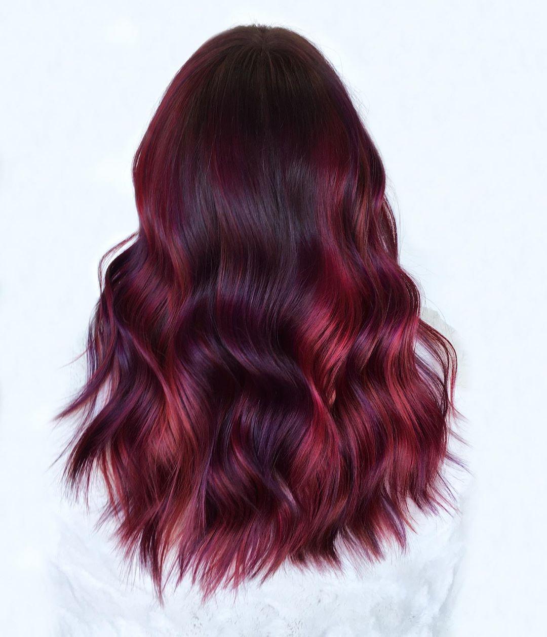 Glossy Burgundy Hair with Chunky Highlights