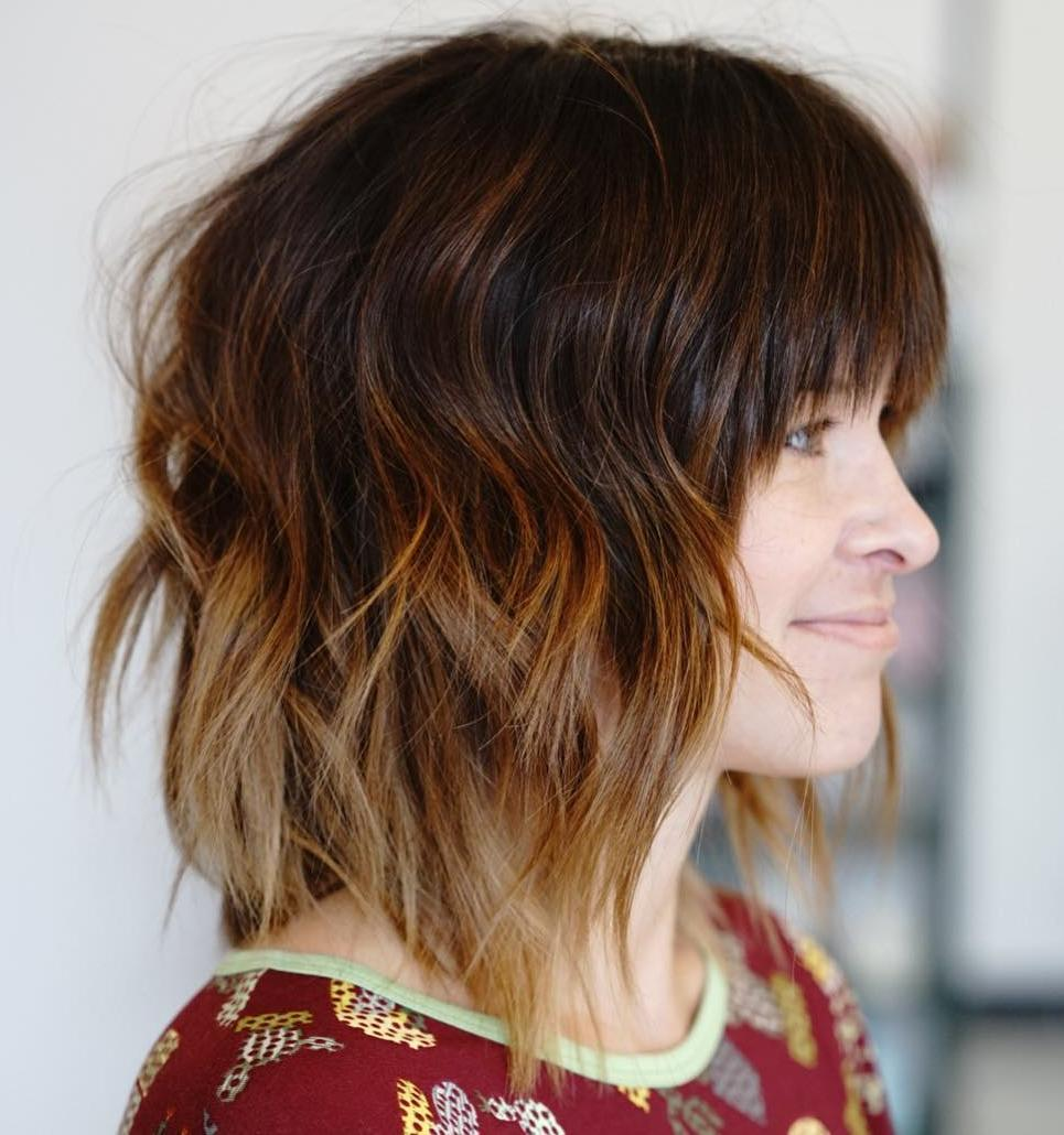 Copper Red Ombre Bob Shag with Bangs