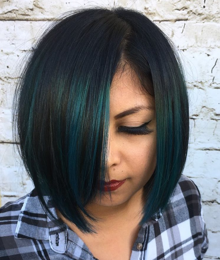 Black Bob with Turquoise Highlights