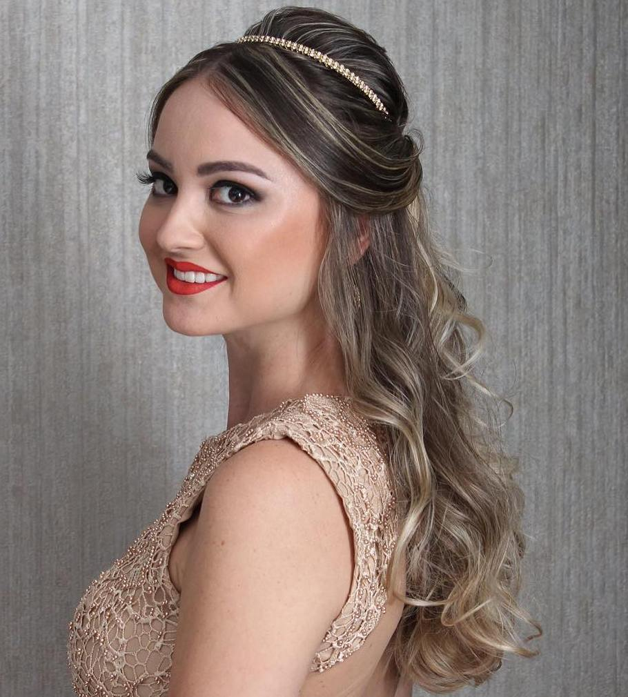 Formal Half Up Hairstyle with a Bouffant