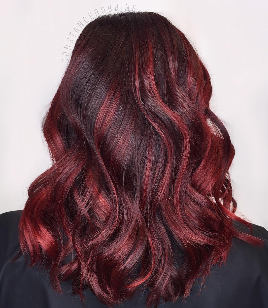 Maroon Burgundy Balayage for Dark Hair