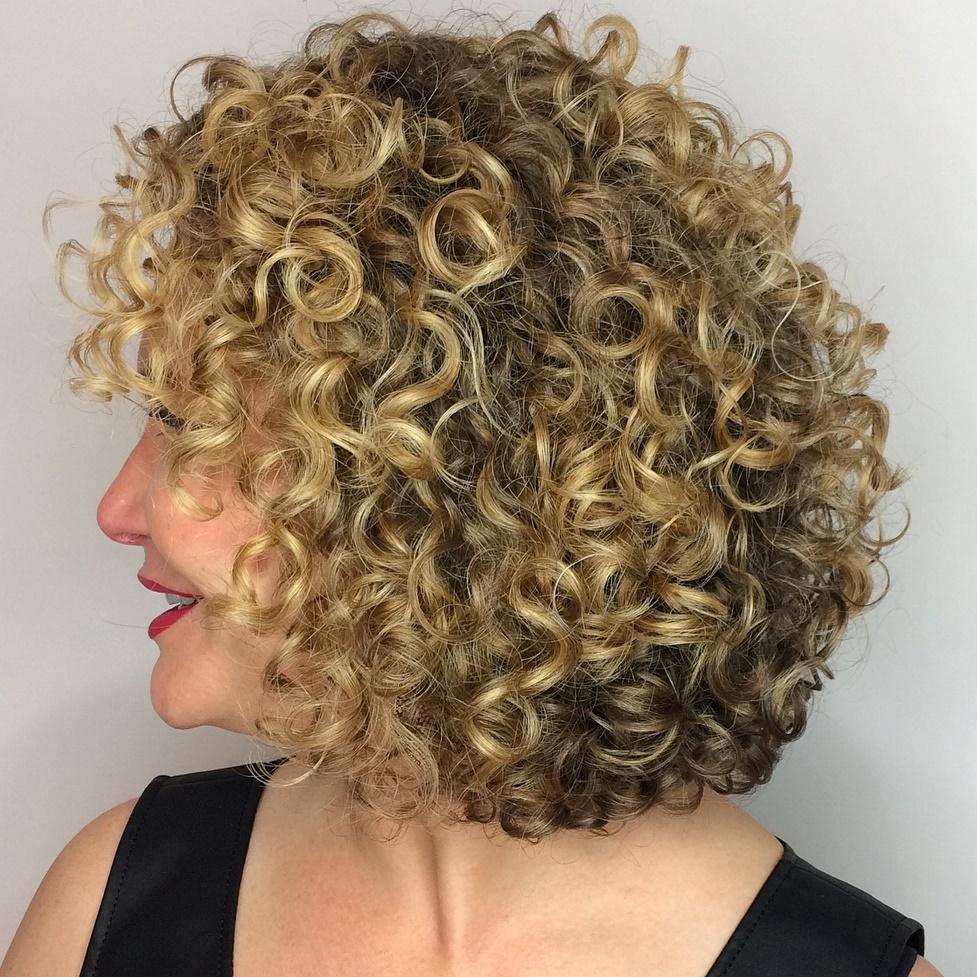 Curly Blonde Balayage Bob