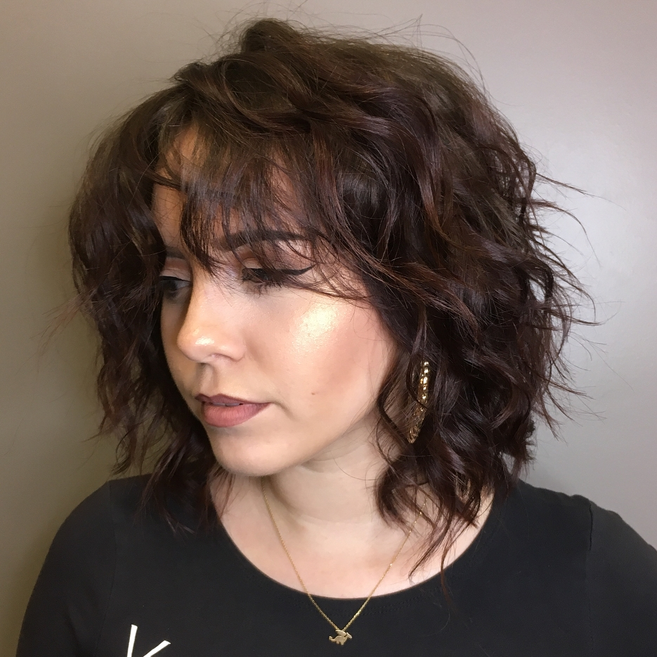 Messy Edgy Curly Shag for Medium Hair