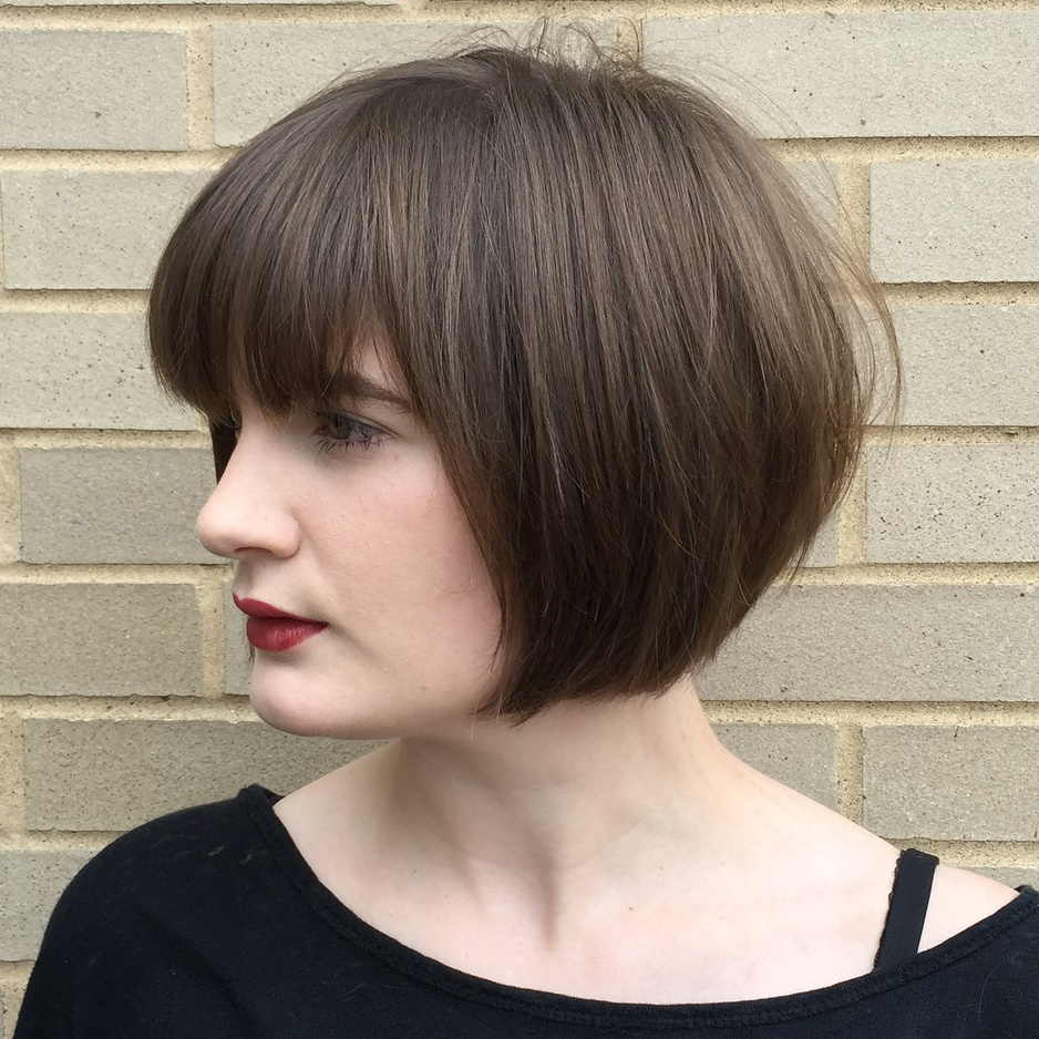 Short Blunt Bob with Subtle Layers and Bangs