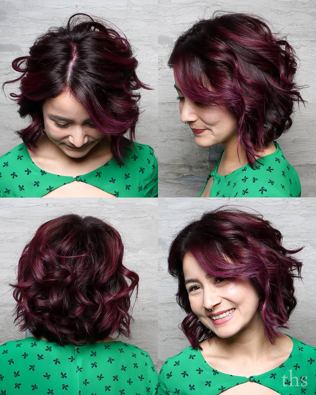 Burgundy Bob with Loose Waves