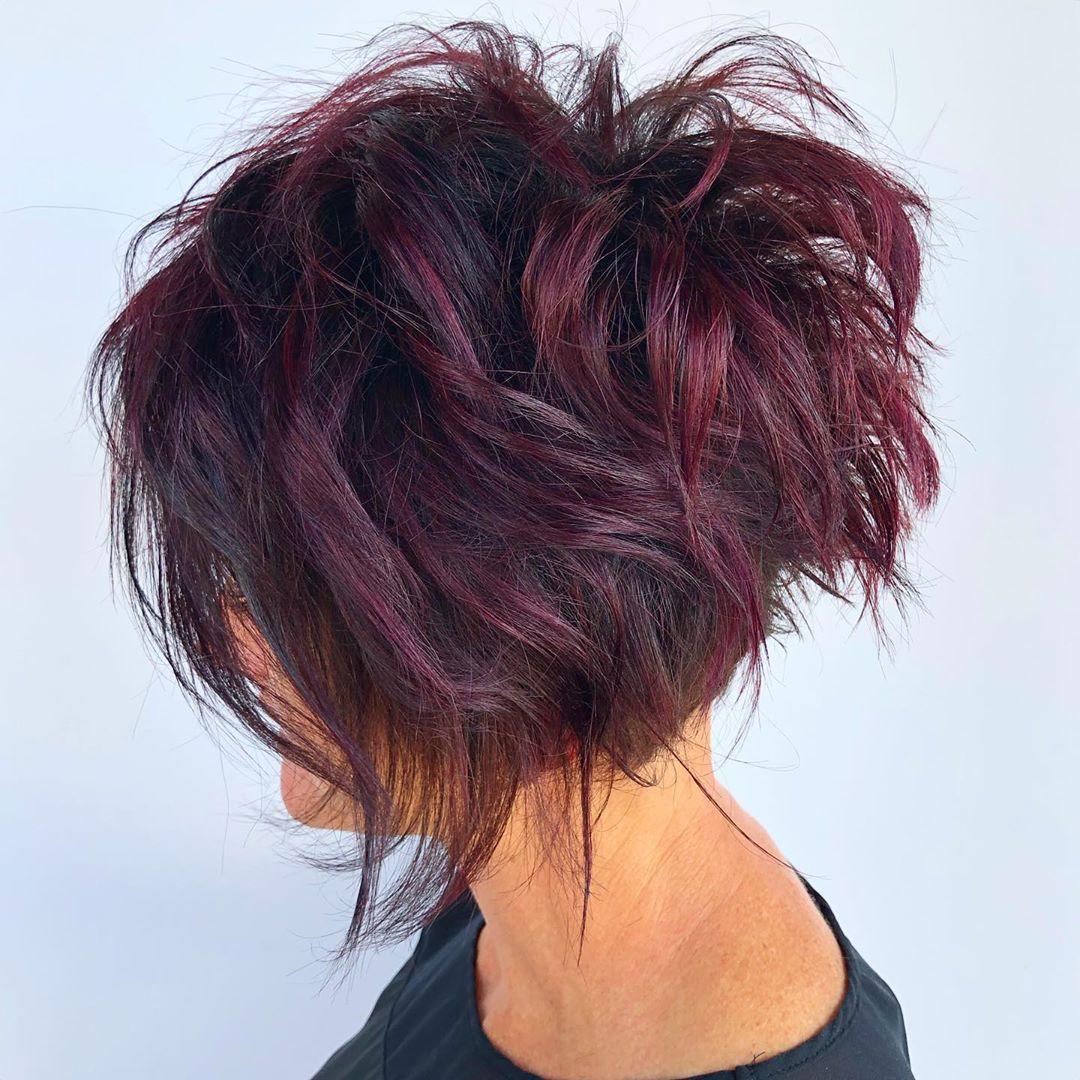 Short Shaggy Hair with Burgundy Highlights