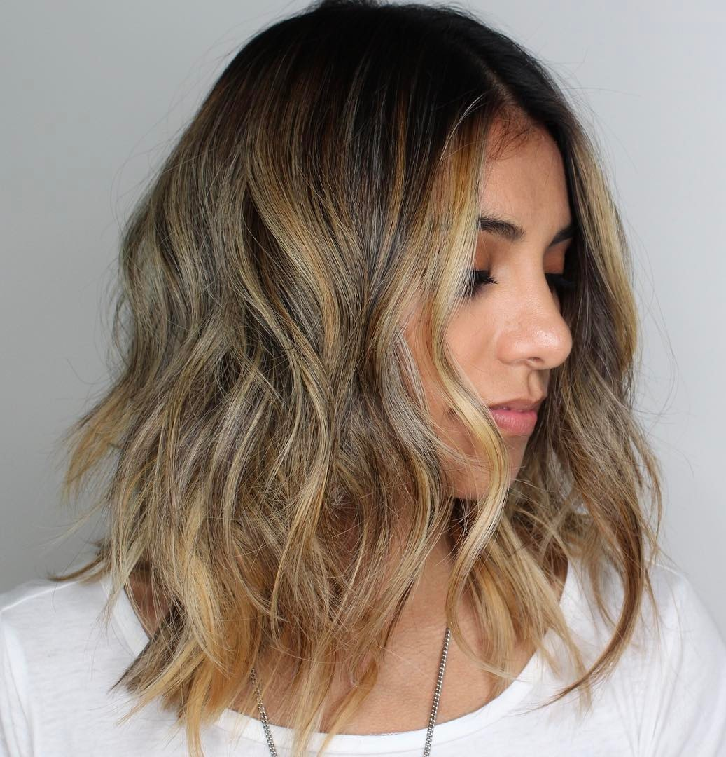Medium Shag with Bronde Highlights