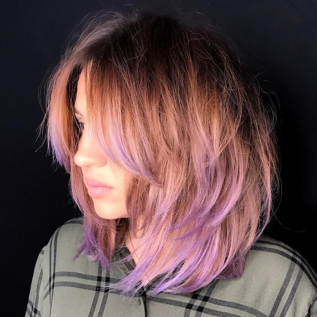 Mid-Length Shag Haircut with Purple Tips