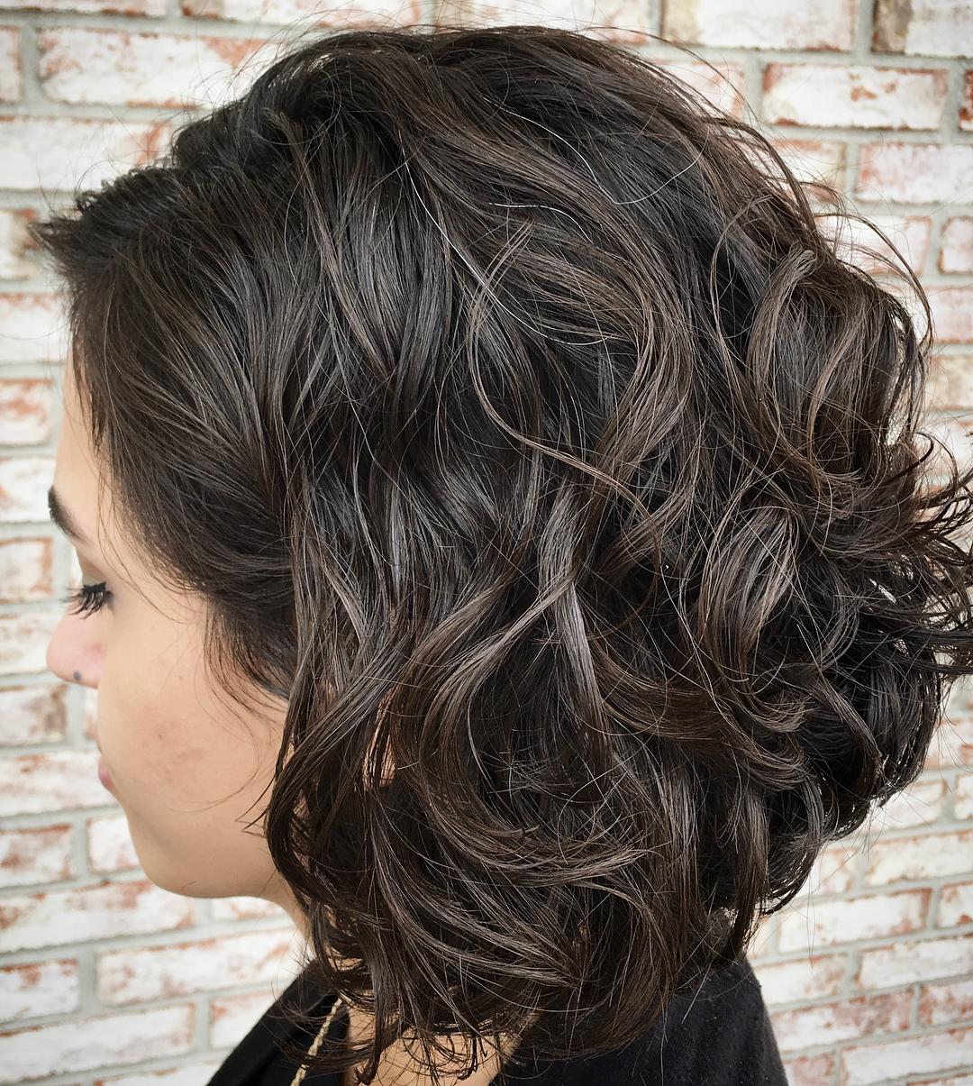Curly Brunette Lob