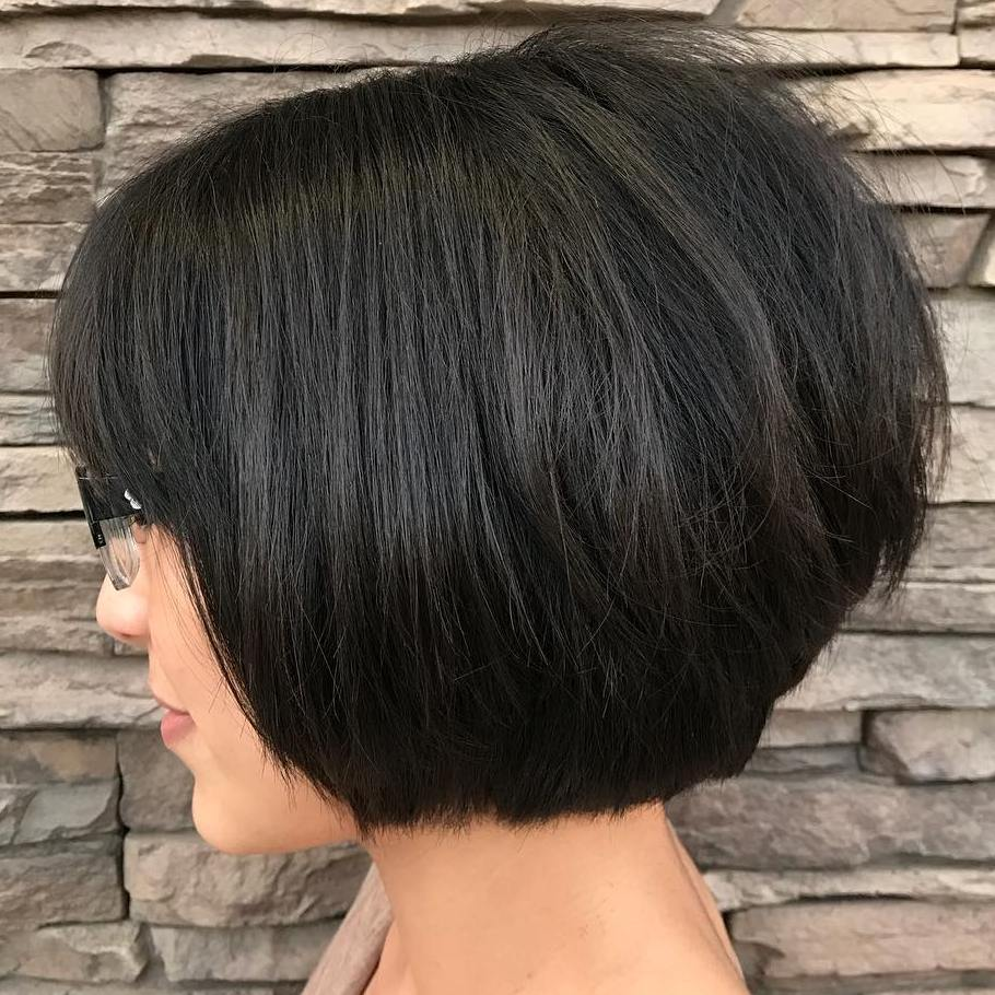 Straight Stacked Bob with Bangs for Thick Hair