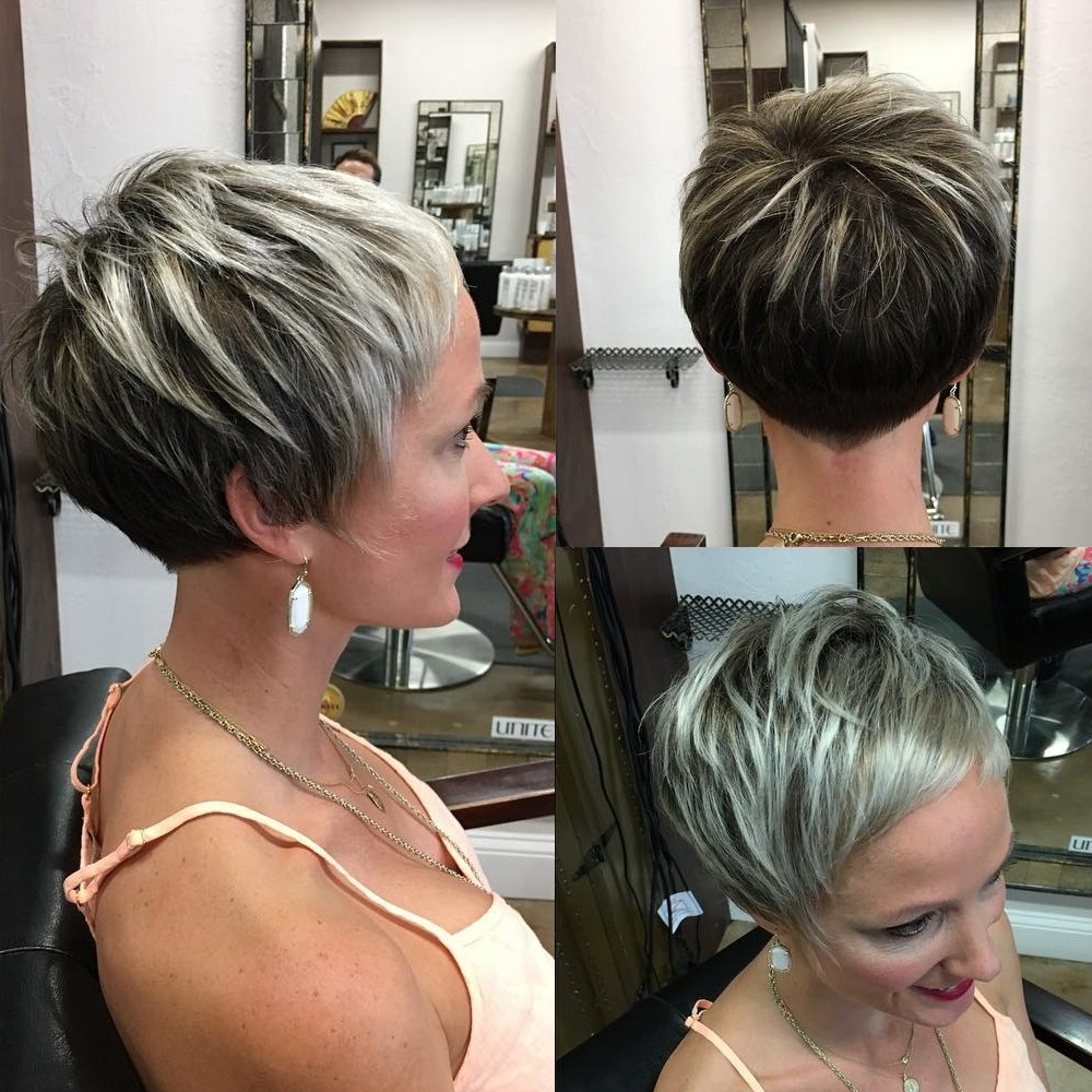 Blonde Balayage Pixie with Short Bangs