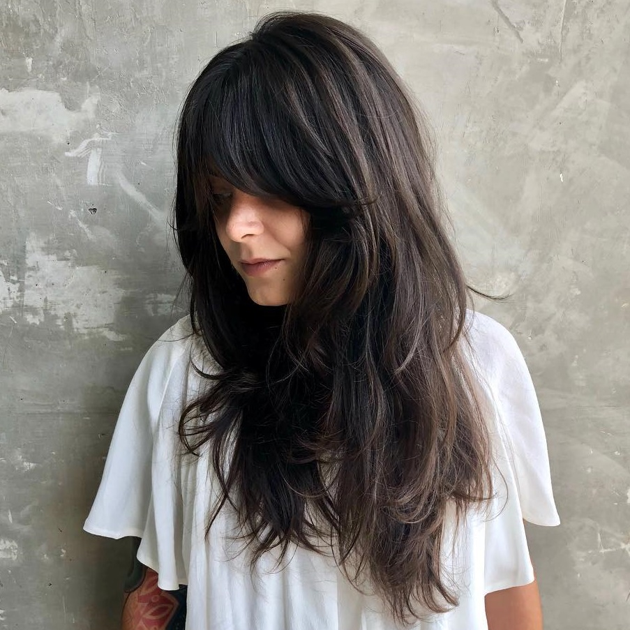 Long Shag Haircut with Full Bangs