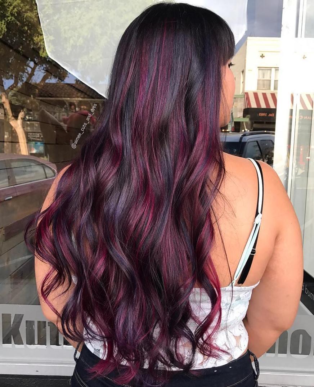 Burgundy Violet Highlights for Long Black Hair