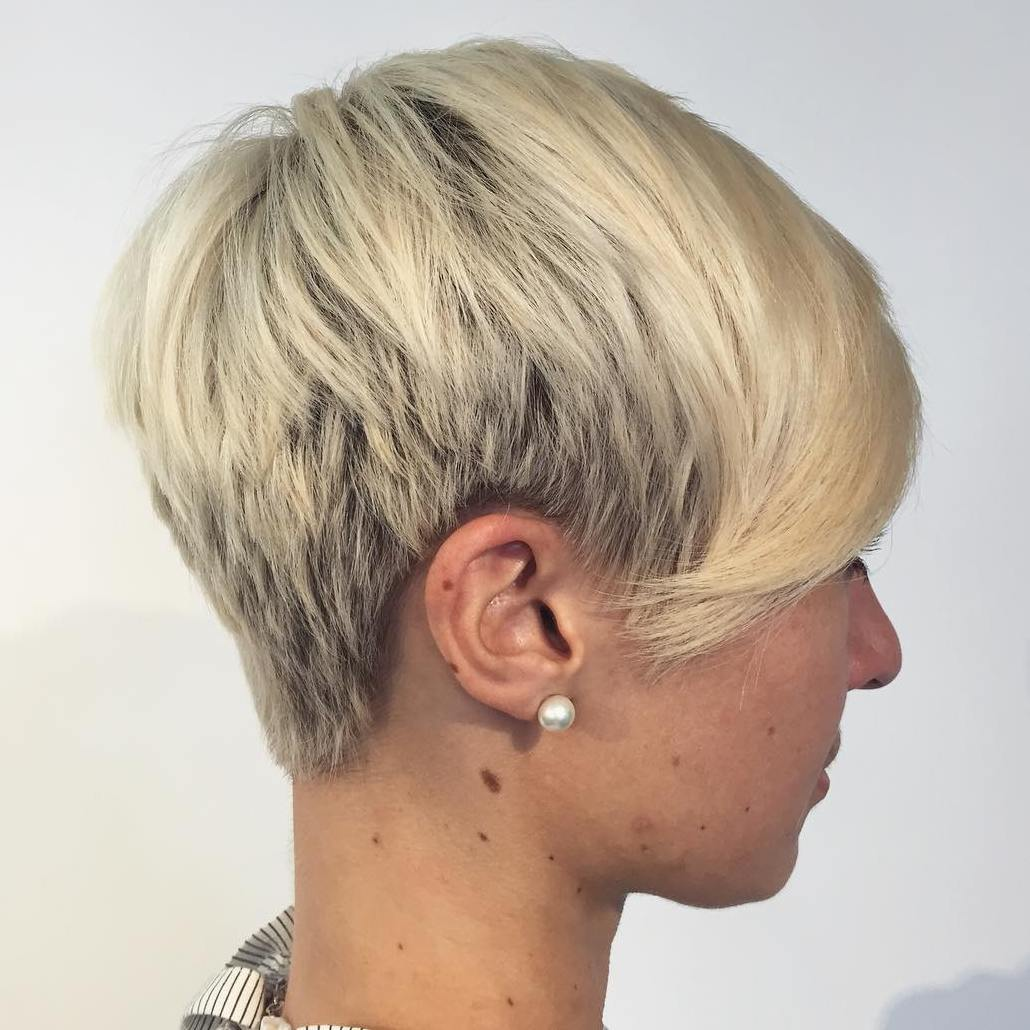 Tapered Blonde Pixie with Bangs