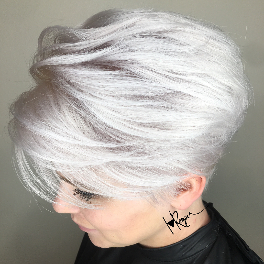 Cool Blonde Pixie with Silver Highlights