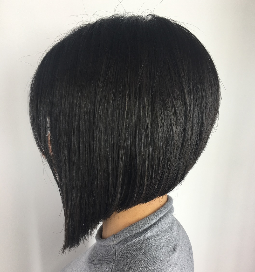 Sharp Black Bob for Straight Hair