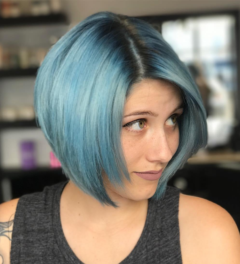 Turquoise Bob with Dark Roots
