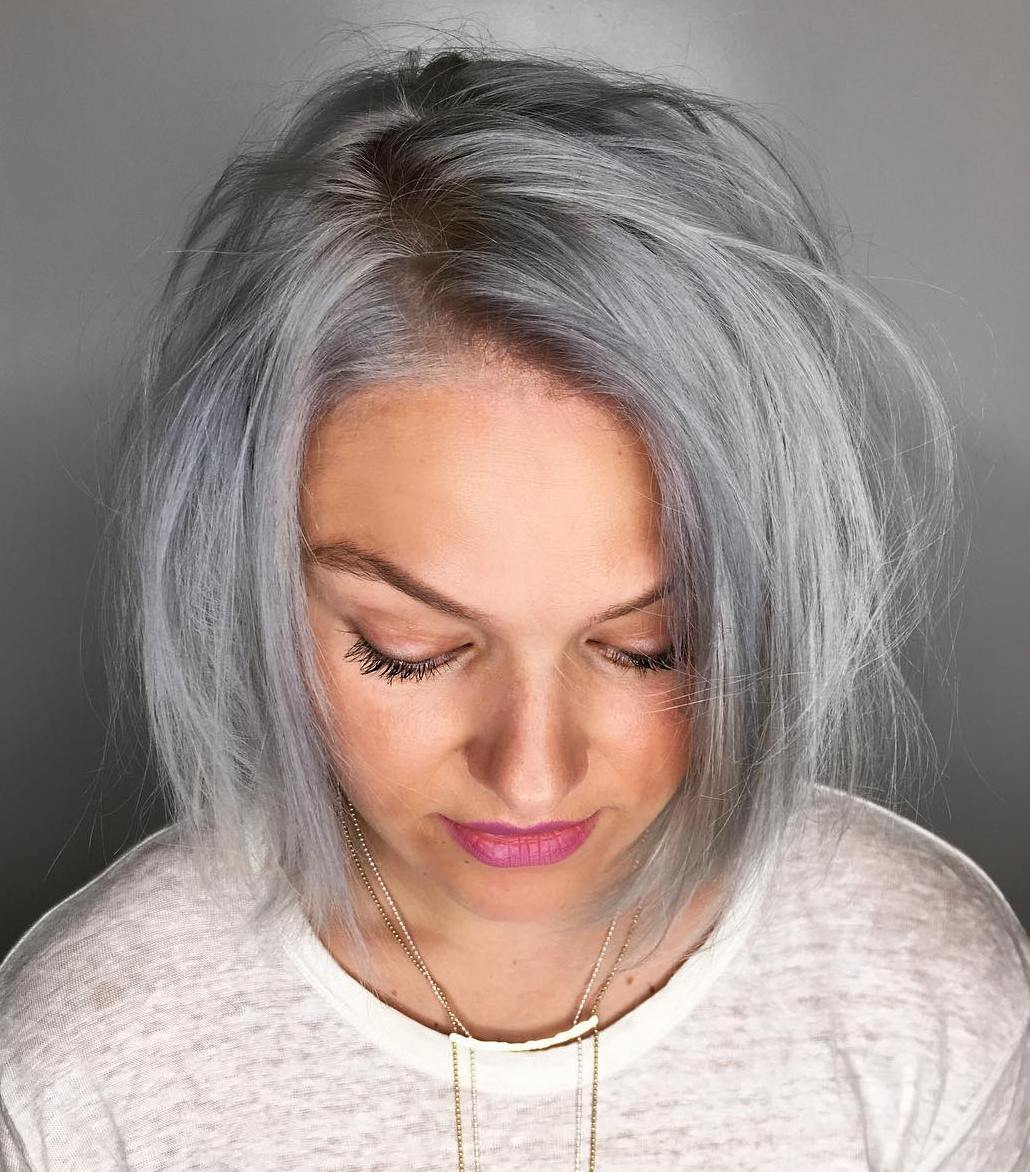 Effortless Gray Messy Bob