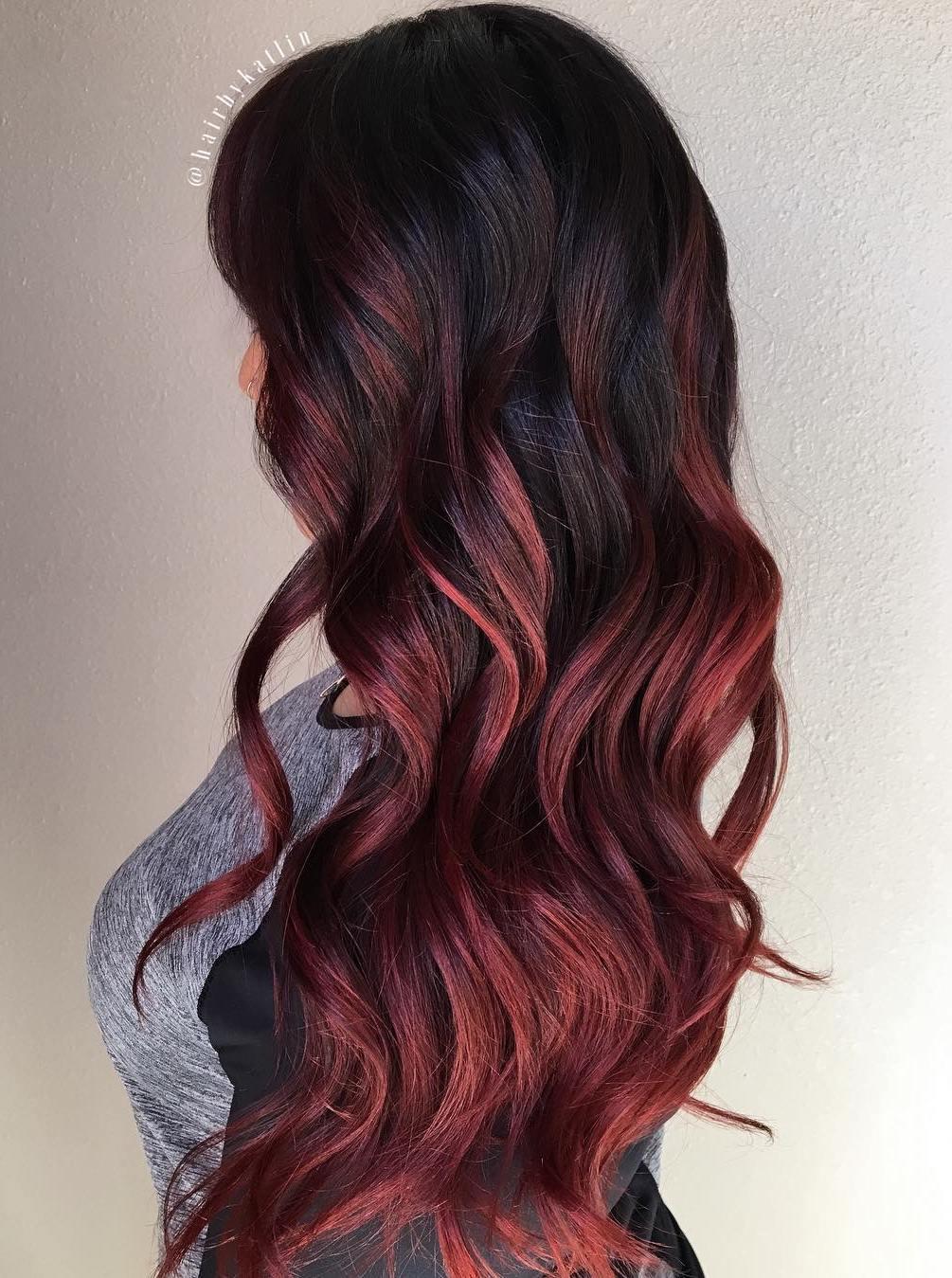 Extra Long Burgundy Black Hair