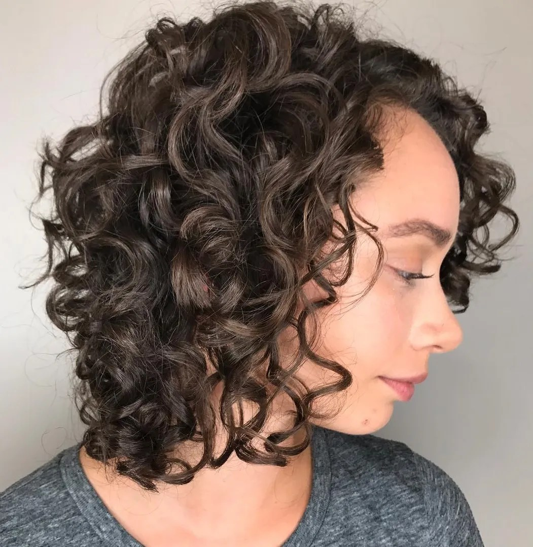 Side-Parted Curly Lob