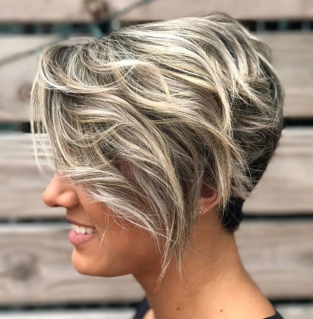 Black and Blonde Pixie with Highlights