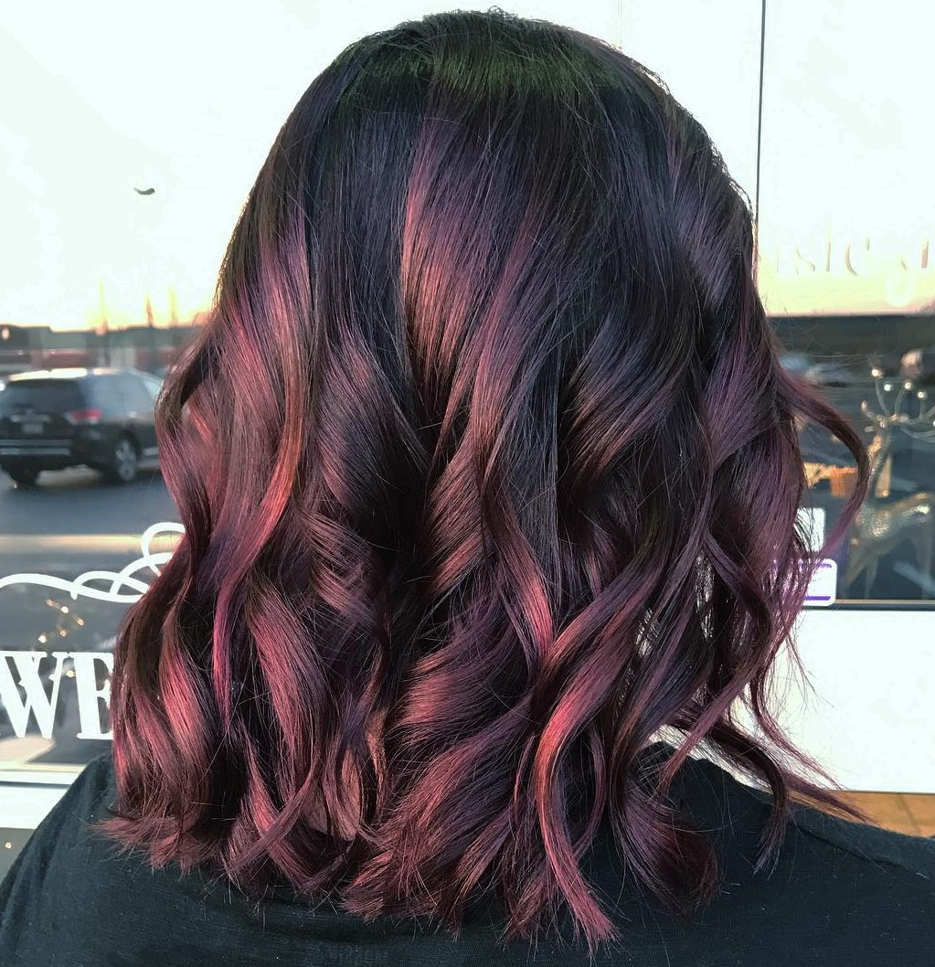 Long Burgundy Red Hair with Waves