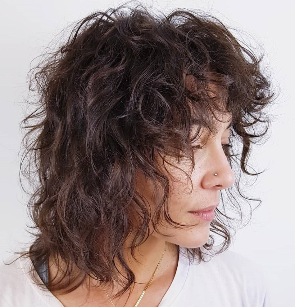 Shaggy Tousled haircut curly hair