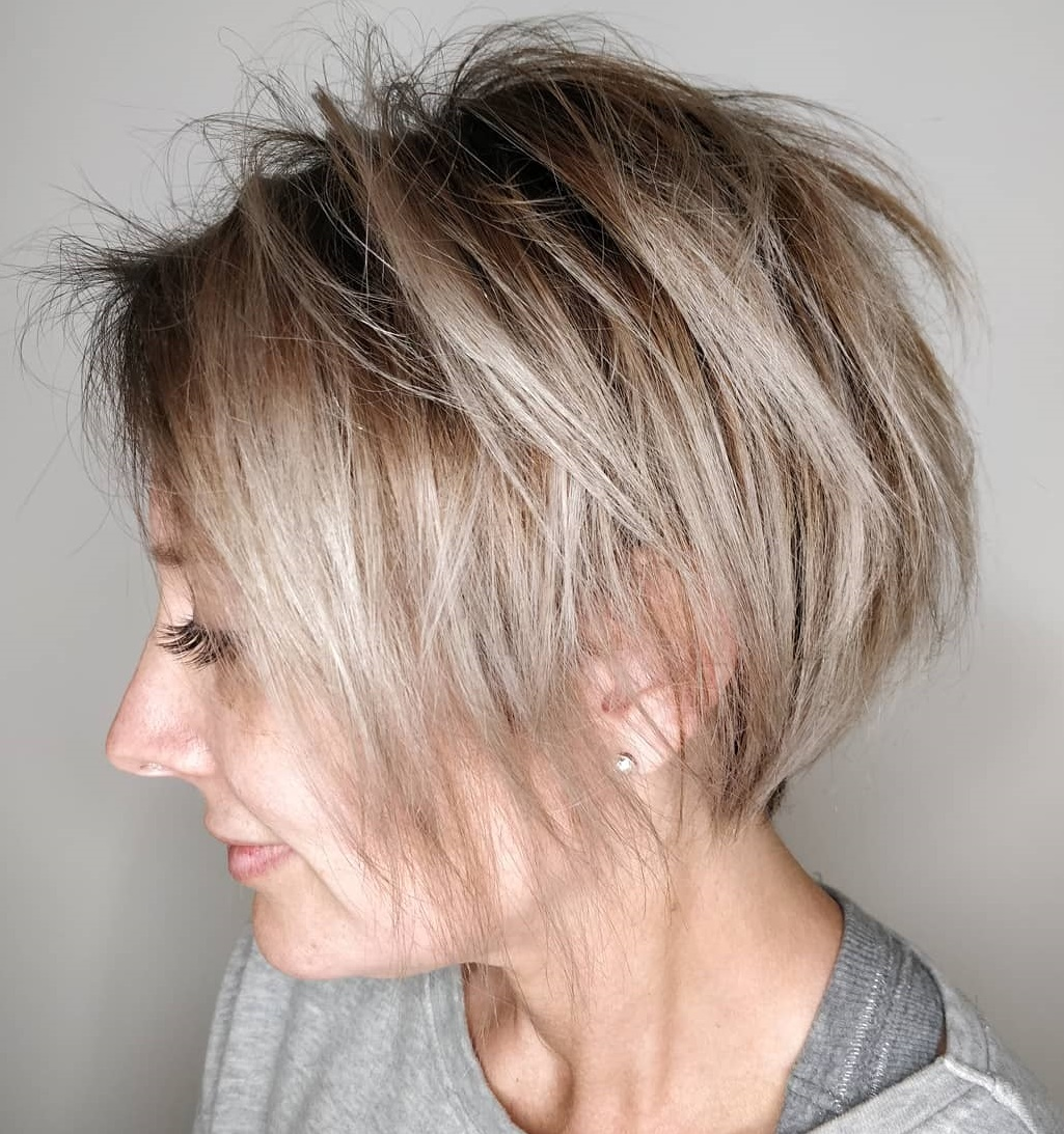 Razored Gray Balayage Bob for Fine Hair