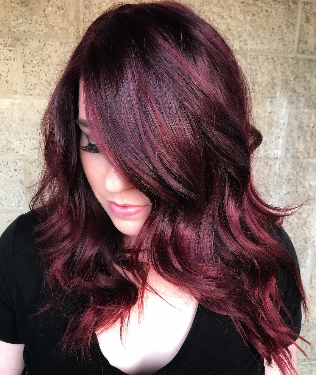 Glam Dark Hair with Burgundy Highlights